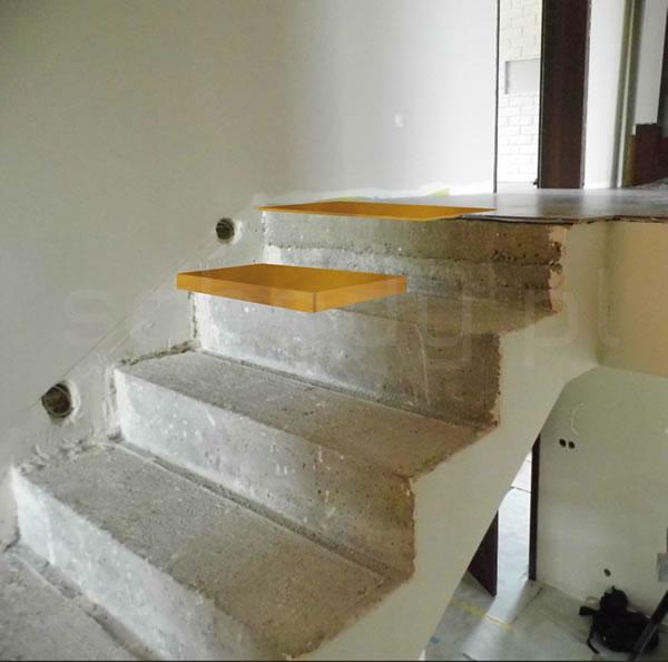Pierwszy stopień w schodach betonowych