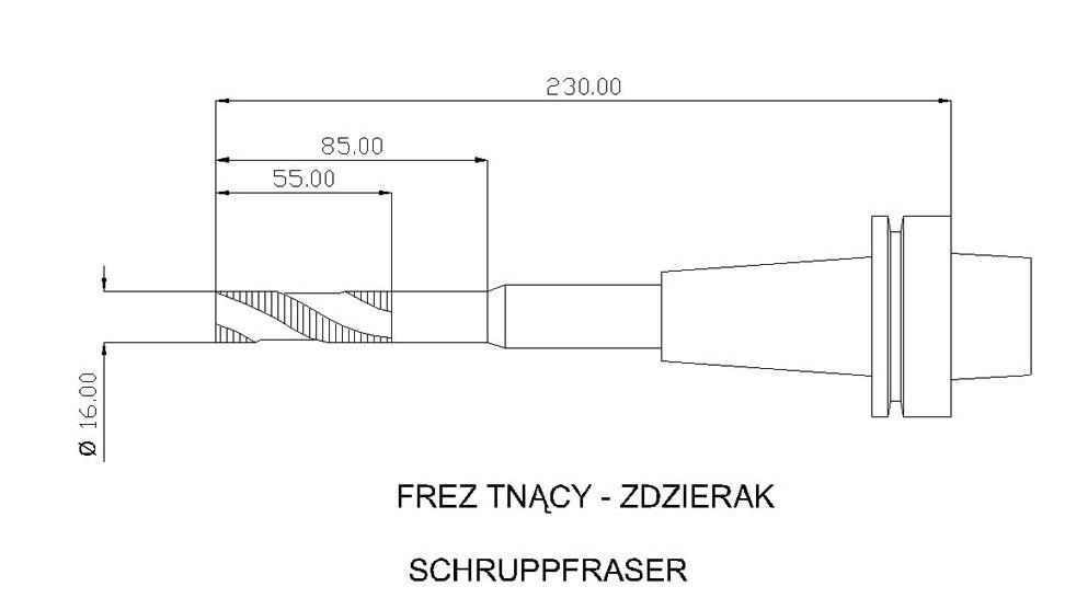 CNC długi frez zdzierak