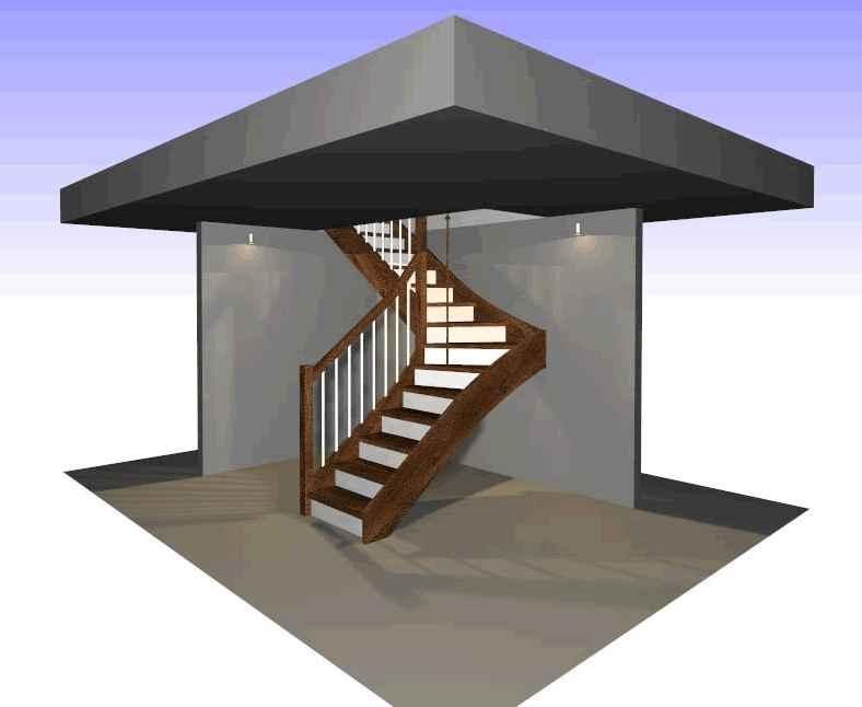 Duże schody w małym otworze