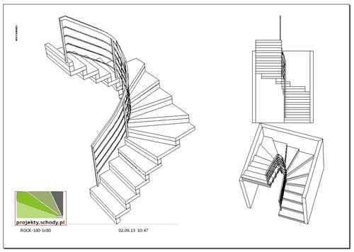 schody w 3D, rysunek trójwymiarowy schodów