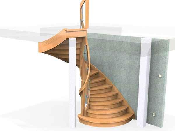 schody drewniane gięte
