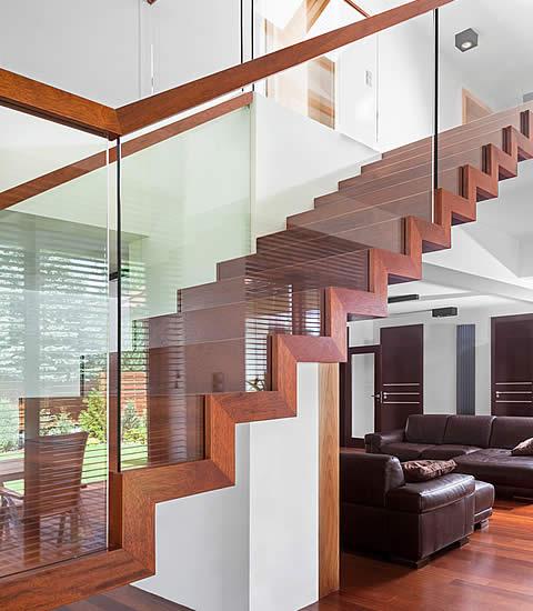 Schody dywanowe + szkło
